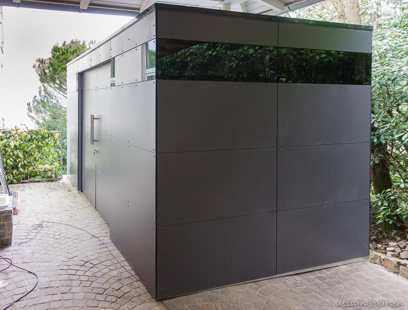 design gartenhaus gart unter einem carport mit st tze im. Black Bedroom Furniture Sets. Home Design Ideas
